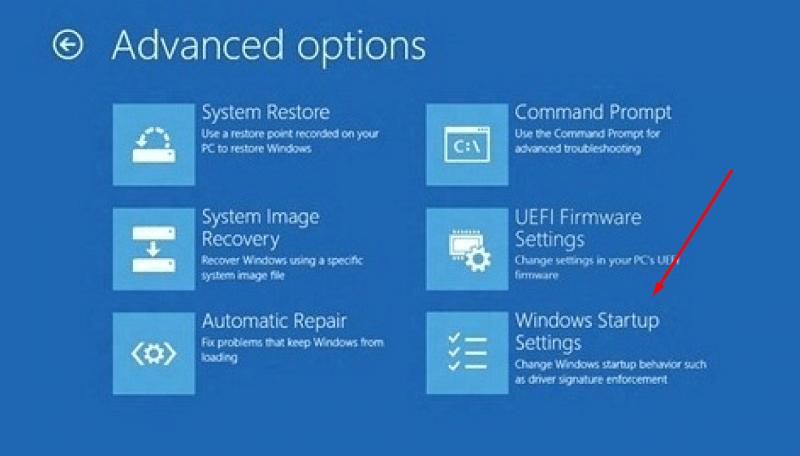 Startup setting windows