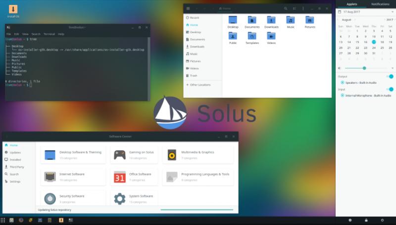Tampilan awal Solus Linux