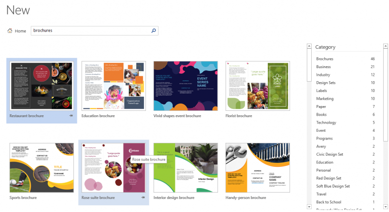Template brochures di word