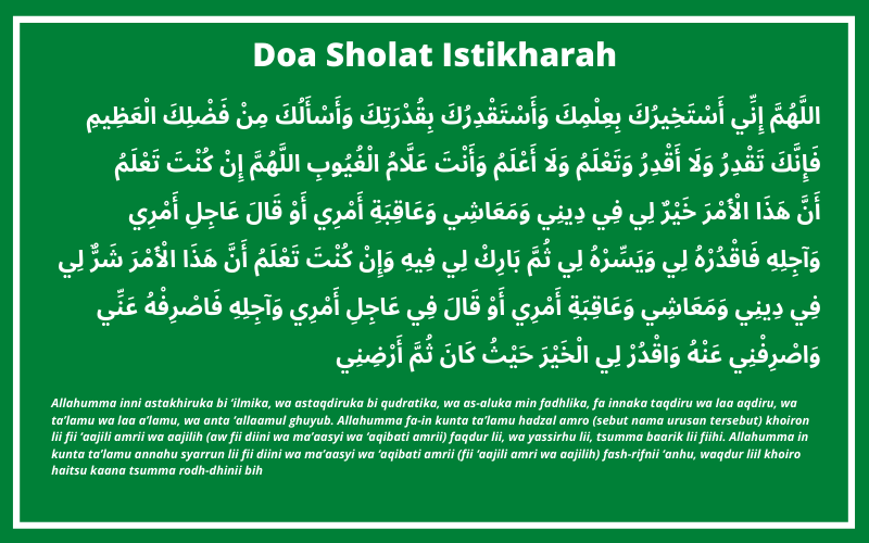 Doa Sholat Istikharah